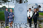 Cllr Norma Foley Mayor of Tralee who unveiled 90th Anniversary Sculpture Stone to mark the 90th anniversaryu of CBS the Green on Friday L-r: Robert Flaherty (Deputy Principal) Ann O'Callaghan (principal (CBS The green) Cllr Norma Foley and Mary J Leen