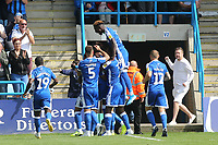 Gillingham players congratulate Ousseynou Cisse after scoring their opening goal during Gillingham vs Burton Albion, Sky Bet EFL League 1 Football at The Medway Priestfield Stadium on 10th August 2019