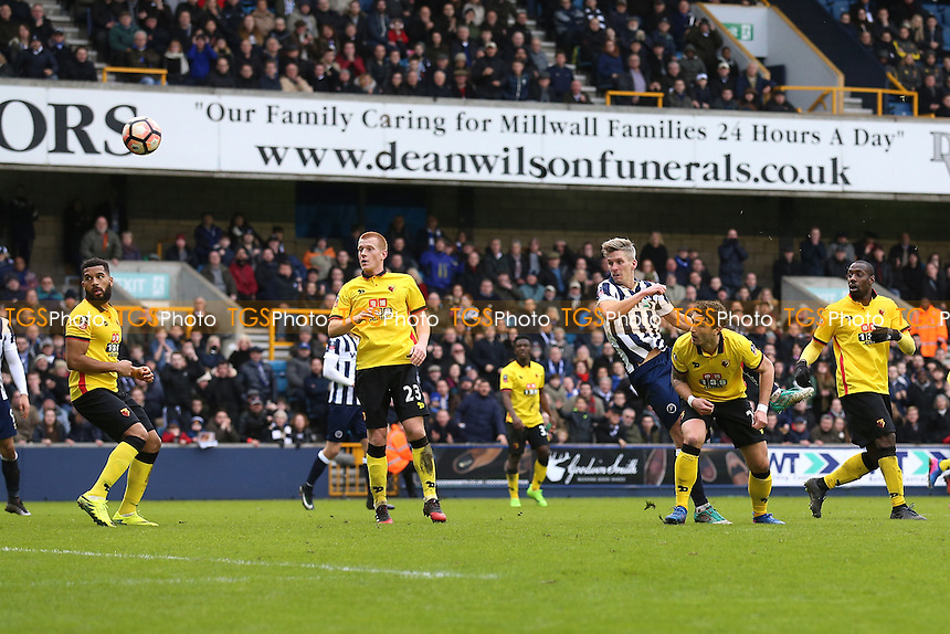 Steve Morison of Millwall goes close to a goal during Millwall vs Watford, Emirates FA Cup Football at The Den on 29th January 2017
