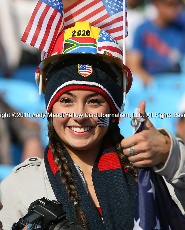 23 JUN 2010: A USA fan, pregame. The United States National Team played the Algeria National Team at Loftus Versfeld Stadium in Tshwane/Pretoria, South Africa in a 2010 FIFA World Cup Group C match.