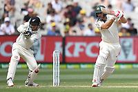 28th December 2019; Melbourne Cricket Ground, Melbourne, Victoria, Australia; International Test Cricket, Australia versus New Zealand, Test 2, Day 3; Joe Burns of Australia pushes the ball to the slips - Editorial Use