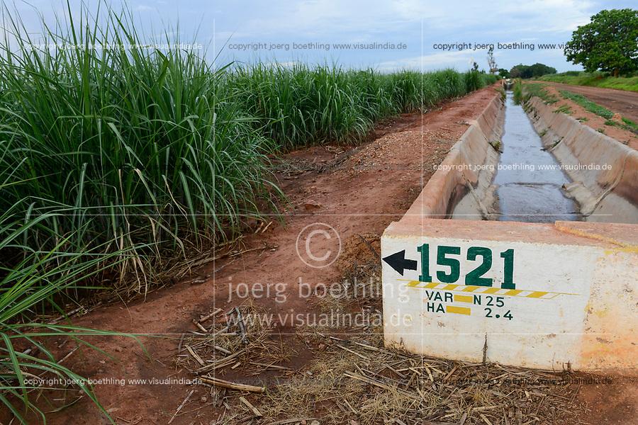 ZAMBIA, Mazabuka, large farm of Zambia Sugar, sugarcane and irrigation canal
