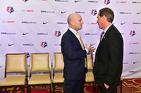 Los Angeles, CA - Thursday January 12, 2017: Paul Riley, Jim Gabarra prior to the 2017 NWSL College Draft at JW Marriott Hotel.