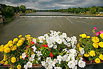 Fox River flows through Geneva Illinois with flowers