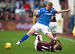 Hearts v St Johnstone...02.08.15   SPFL Tynecastle, Edinburgh<br /> Brian Easton gets the better of Sam Nicholson<br /> Picture by Graeme Hart.<br /> Copyright Perthshire Picture Agency<br /> Tel: 01738 623350  Mobile: 07990 594431