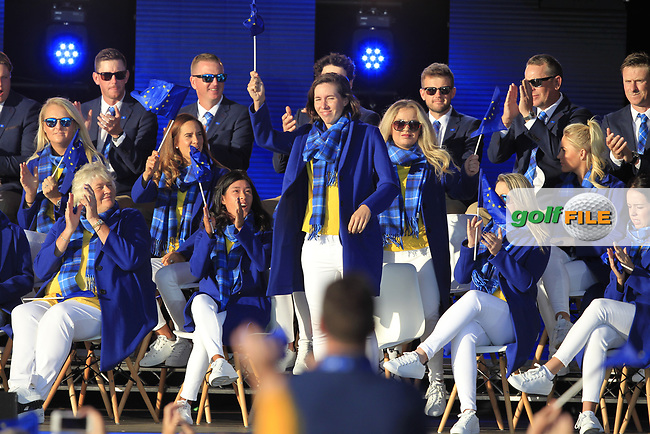 Carlota Ciganda (EUR) gets picked to play in the morning foursomes during the Opening Ceremony of the Solheim Cup 2019 at Gleneagles Golf CLub, Auchterarder, Perthshire, Scotland. 12/09/2019.<br /> Picture Thos Caffrey / Golffile.ie<br /> <br /> All photo usage must carry mandatory copyright credit (© Golffile   Thos Caffrey)