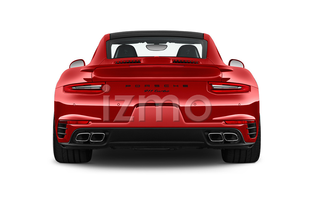 Straight rear view of 2019 Porsche 911 Turbo-Coupe 2 Door Coupe Rear View  stock images