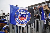 A general view of Bath Rugby flags in the terracing. Amlin Challenge Cup quarter-final, between Bath Rugby and CA Brive on April 6, 2014 at the Recreation Ground in Bath, England. Photo by: Patrick Khachfe / Onside Images