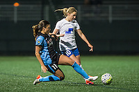 Allston, MA - Saturday, May 07, 2016: Chicago Red Stars forward Sofia Huerta (11) and Boston Breakers midfielder Louise Schillgard (10) during a regular season National Women's Soccer League (NWSL) match at Jordan Field.