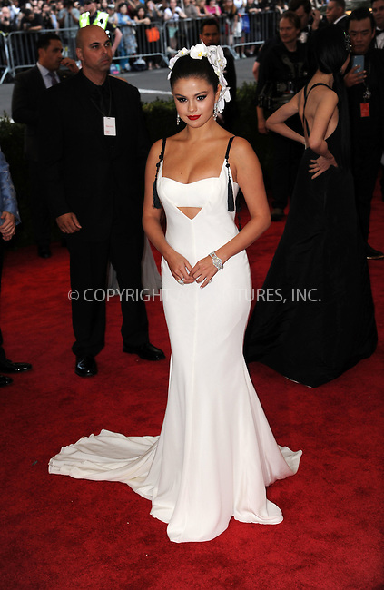WWW.ACEPIXS.COM<br /> <br /> May 4 2015, New York City<br /> <br /> Actress Selena Gomez attending the Costume Institute Benefit Gala celebrating the opening of China: Through the Looking Glass at the Metropolitan Museum of Art on May 4 2015 in New York City.<br /> <br /> <br /> Please byline: Kristin Callahan/ACE Pictures<br /> <br /> ACE Pictures, Inc.<br /> www.acepixs.com, Email: info@acepixs.com<br /> Tel: 646 769 0430