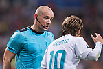 Referees Szymon Marciniak (L) talks with Luka Modric of Real Madrid (R) during the UEFA Champions League 2017-18 match between Real Madrid and Tottenham Hotspur FC at Estadio Santiago Bernabeu on 17 October 2017 in Madrid, Spain. Photo by Diego Gonzalez / Power Sport Images