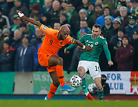 16th November 2019; Windsor Park, Belfast, Antrim County, Northern Ireland; European Championships 2020 Qualifier, Northern Ireland versus Netherlands; Ryan Babel of Netherlands and Michael Smith of Northern Ireland challenge for the ball - Editorial Use