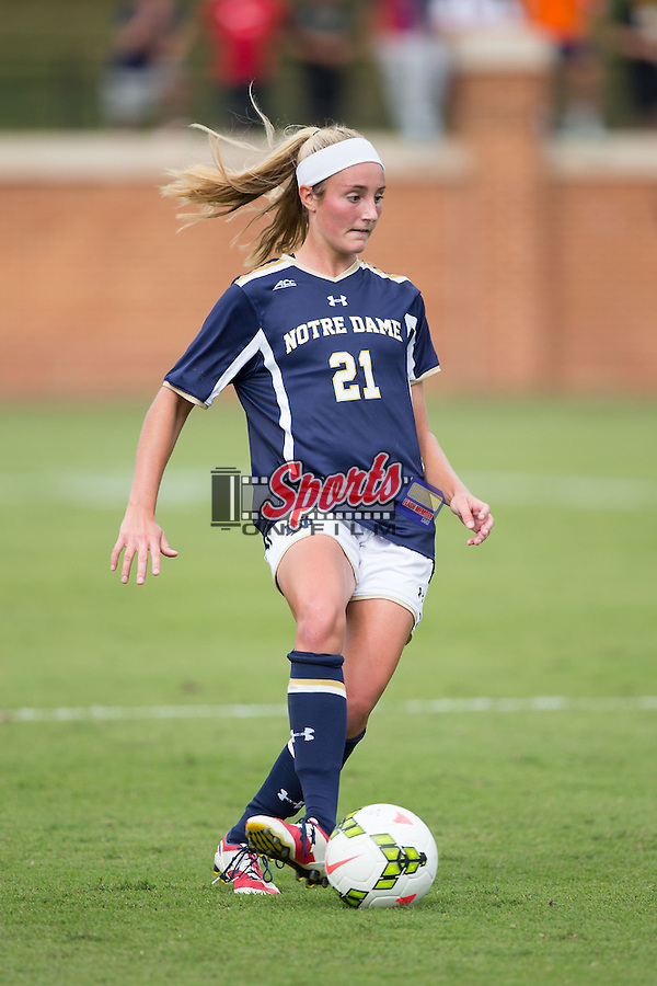 Brittany Von Rueden (21) of the Notre Dame Fighting Irish controls the ball during second half action against the Wake Forest Demon Deacons at Spry Soccer Stadium on September 28, 2014 in Winston-Salem, North Carolina.  The Fighting Irish defeated the Demon Deacons 1-0.   (Brian Westerholt/Sports On Film)