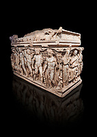 "Roman relief sculpted Hercules sarcophagus with kline couch lid, ""Columned Sarcophagi of Asia Minor"" style typical of Sidamara, 250-260 AD, Konya Archaeological Museum, Turkey. Against a black background"