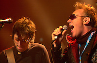 April 2nd  2004, Montreal, Quebec, Canada<br /> <br /> French New Wave icon PLASTIK BERTRAND (R) join Quebec artist STEFIE SHOCK (L) onstage while SHOCK imterpret CA PLANE POUR MOI ; one of Bertrand's hits.<br /> <br /> Shock was hosting the final of the Molson Dry Challenge, at the Metropolis club in Montreal, April 2 , 2004<br /> <br /> <br /> Mandatory Credit: Photo by Pierre Roussel- Images Distribution. (©) Copyright 2004 by Pierre Roussel