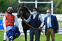 Winner of The AJN Steelstock / Pam Bruford Memorial Handicap   Konchek  ridden by Hector Crouch and trained by Clive Cox  in the Winners enclosure during Horse Racing at Salisbury Racecourse on 9th August 2020