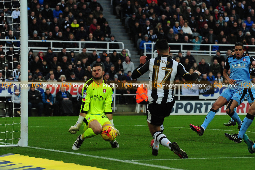 Ayoze Perez of Newcastle United has a chance saved by Richard O'Donnell of Rotherham United during Newcastle United vs Rotherham United, Sky Bet EFL Championship Football at St. James' Park on 21st January 2017