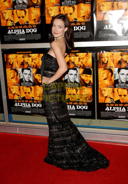 "OLIVIA WILDE.Universal Pictures World Premiere of ""Alpha Dog"" held at The Arclight Theatre in Hollywood, California, USA. .January 3rd, 2007.full length black sheer dress hand on hip strapless looking over shoulder.CAP/DVS.©Debbie VanStory/Capital Pictures"