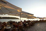 People enjoying sunset at outdoor cafes in Rovinj, Istria, Croatia, Adriatic, Europe