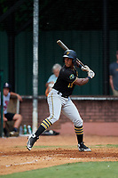 Bristol Pirates designated hitter Jeremias Portorreal (16) at bat during a game against the Elizabethton Twins on July 29, 2018 at Joe O'Brien Field in Elizabethton, Tennessee.  Bristol defeated Elizabethton 7-4.  (Mike Janes/Four Seam Images)