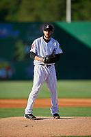 Jackson Generals starting pitcher Alex Young (16) gets ready to deliver a pitch during a game against the Chattanooga Lookouts on April 27, 2017 at The Ballpark at Jackson in Jackson, Tennessee.  Chattanooga defeated Jackson 5-4.  (Mike Janes/Four Seam Images)