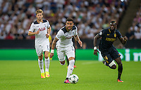 Kyle Walker of Tottenham Hotspur heads away form Tiemoue Bakayoko of Monaco during the UEFA Champions League Group stage match between Tottenham Hotspur and Monaco at White Hart Lane, London, England on 14 September 2016. Photo by Andy Rowland.