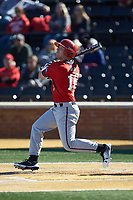 Corey Howard (16) of the Gardner-Webb Runnin' Bulldogs follows through on his swing against the Wake Forest Demon Deacons at David F. Couch Ballpark on February 18, 2018 in  Winston-Salem, North Carolina. The Demon Deacons defeated the Runnin' Bulldogs 8-4 in game one of a double-header.  (Brian Westerholt/Four Seam Images)