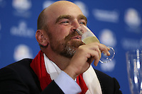 Thomas Bjorn (EUR) sips champagne at  the final European Team Press Conference after Sunday's Singles at the 2014 Ryder Cup from Gleneagles, Perthshire, Scotland. Picture:  David Lloyd / www.golffile.ie