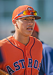 7 March 2013: Houston Astros infielder Carlos Correa watches warm-up action prior to a Spring Training game against the Washington Nationals at Osceola County Stadium in Kissimmee, Florida. The Astros defeated the Nationals 4-2 in Grapefruit League play. Mandatory Credit: Ed Wolfstein Photo *** RAW (NEF) Image File Available ***