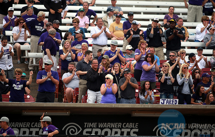 27 MAY 2014-Whitewater fans cheer their first run in the second inning at the NCAA D3 National Baseball Championship at Fox Cities Stadium in Appleton, Wisconsin. Whitewater became the first NCAA school at any level to win the football, basketball, and baseball championships in the same academic year with 7-0 shutout of Emory.                          Allen Fredrickson/NCAA PHOTOS