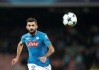 Football Soccer: UEFA Champions League Napoli vs Mabchester City San Paolo stadium Naples, Italy, November 1, 2017. <br /> Napoli's Elseid Hisaj in action during the Uefa Champions League football soccer match between Napoli and Manchester City at San Paolo stadium, November 1, 2017.<br /> UPDATE IMAGES PRESS/Isabella Bonotto