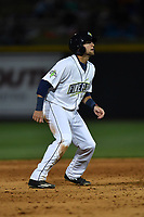Third baseman Blake Tiberi (5) of the Columbia Fireflies in a game against the Augusta GreenJackets on Opening Day, Thursday, April 6, 2017, at Spirit Communications Park in Columbia, South Carolina. Columbia won, 14-7. (Tom Priddy/Four Seam Images)
