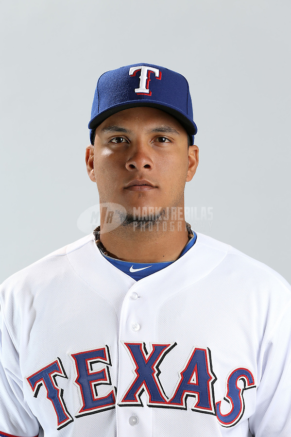 Feb. 20, 2013; Surprise, AZ, USA: Texas Rangers catcher Juan Apodaca poses for a portrait during photo day at Surprise Stadium. Mandatory Credit: Mark J. Rebilas-