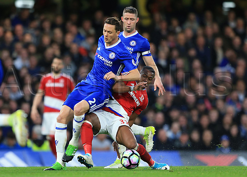 May 8th 2017, Stamford Bridge, Chelsea, London England; EPL Premier League football, Chelsea FC versus Middlesbrough; Gary Cahill of Chelsea is challenged by Adama Traore of Middlesbrough