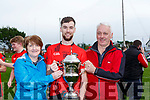 Bridis Dhane and  Pat O'Riordan celebrate winning the Mid kerry final against Laune Rangers in Killorglin on Sunday