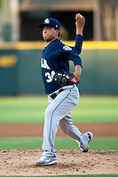 New Orleans Zephyrs pitcher Alex Sanabia #34 delivers during the Pacific Coast League baseball game against the Round Rock Express on May 2, 2012 at The Dell Diamond in Round Rock, Texas. The Express defeated the Zephyrs 10-5. (Andrew Woolley / Four Seam Images)