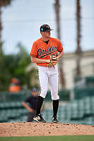 Baltimore Orioles pitcher Jake Zebron (65) gets ready to deliver a pitch during a Florida Instructional League game against the Boston Red Sox on October 8, 2018 at the Ed Smith Stadium in Sarasota, Florida.  (Mike Janes/Four Seam Images)