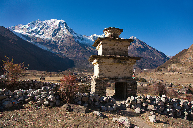 MANASLU NORTH PEAK a STUPA in a high altitude valley near SAMAGAUN- NUPRI REGION, NEPAL