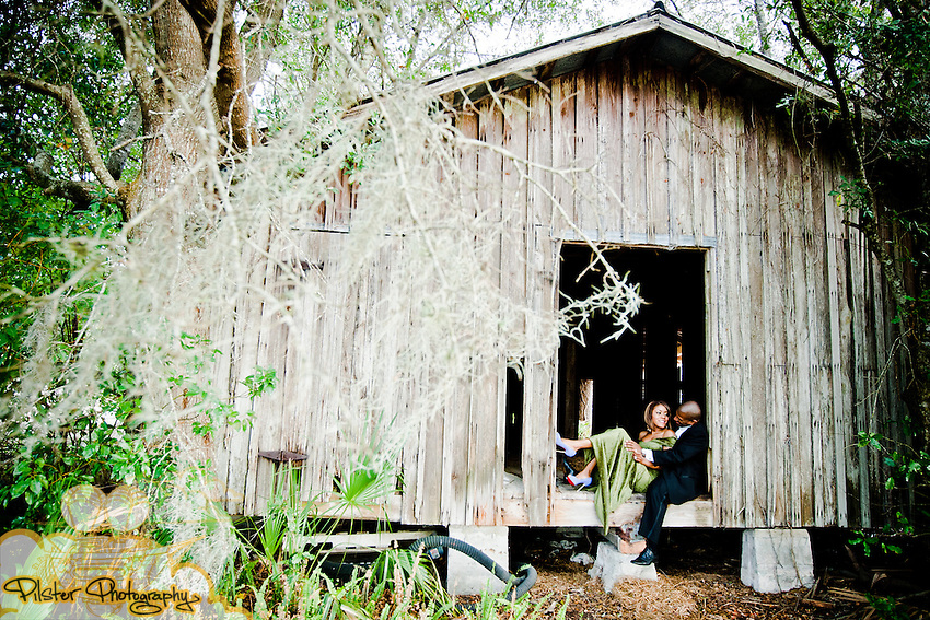The engagement session of Klaleh York and Robert Parker on Wednesday, January 5, 2011, at a deserted barn in Lake Helen. The dressed up in couture fashion and had fun. (Chad Pilster, PilsterPhotography.net)