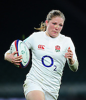 Lydia Thompson of England goes on the attack. Old Mutual Wealth Series International match between England Women and Canada Women on November 26, 2016 at Twickenham Stadium in London, England. Photo by: Patrick Khachfe / Onside Images