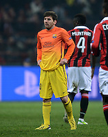 FUSSBALL  CHAMPIONS LEAGUE  ACHTELFINALE  HINSPIEL  2012/2013      AC Mailand - FC Barcelona     20.02.2013 Lionel Messi (Barca) ratlos