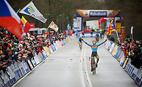 Thijs Aerts (BEL) crossing the finish line and becoming the new Juniors CX World Champion<br /> <br /> 2014 UCI cyclo-cross World Championships