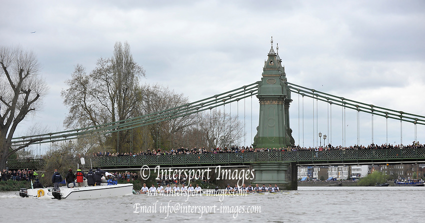 Putney- Mortlake, LONDON, GREAT BRITAIN,  both crews approach Hammersmith Bridge. 2012 Boat Race, Oxford University vs Cambridge University. racing over the championship course. Putney/Mortlake, Saturday  07/04/2012  [Mandatory Credit, Peter Spurrier/Intersport-images]..Crews:.OUBC. Bow Dr. Alexander WOODS, 2. William ZENG, 3. Kevin BAUM, 4. Alex DAVIDSON,5. Karl HUDSPITH, 6. Dr. Hanno WIENHAUSEN, 7. Dan HARVEY, Stk. Roel HAEN, Cox. Zoe DE TOLEDO...CUBC. Bow. David NELSON, 2. Moritz SCHRAMM, 3. Jack LINDEMAN, 4. Alex ROSS , 5.Michael THORP, 6. Steve DUDEK, 7  Alexander SCHARP, Stk. Niles GARRETT . Cox. Ed BOSSON .