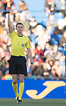Referee issue yellow card during the La Liga 2017-18 match between Getafe CF and Valencia CF at Coliseum Alfonso Perez on December 3 2017 in Getafe, Spain. Photo by Diego Gonzalez / Power Sport Images