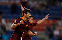 Calcio, Europa League: Roma vs Astra Giurgiu. Roma, stadio Olimpico, 29 settembre 2016.<br /> Roma&rsquo;s Federico Fazio celebrates after scoring during the Europa League Group E soccer match between Roma and Astra Giurgiu at Rome's Olympic stadium, 29 September 2016. Roma won 4-0.<br /> UPDATE IMAGES PRESS/Isabella Bonotto