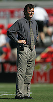 OCT 2, 2005: College Park, MD, USA:  UNC Tarheels head coach Anson Dorrance watches his team warm up before playing the Maryland Terrapins at Ludwig Field.  UNC won, 4-0. Mandatory Credit: Photo By Brad Smith (c) Copyright 2005 Brad Smith
