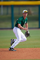 Dartmouth Big Green second baseman Nate Ostmo (19) during practice before a game against the South Florida Bulls on March 27, 2016 at USF Baseball Stadium in Tampa, Florida.  South Florida defeated Dartmouth 4-0.  (Mike Janes/Four Seam Images)