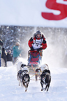 Sunday February 27, 2010   Yuta Takagi leaves the start line of the Junior Iditarod at Willow Lake , Alaska