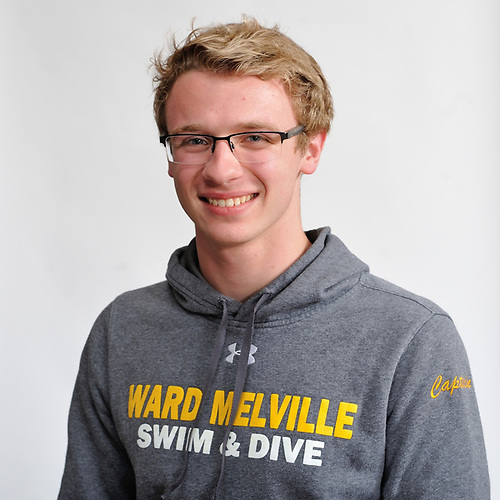 Cameron Kubik of Ward Melville poses for a portrait during Newsday's All-Long Island boys swimming photo shoot at company headquarters in Melville on Friday, March 23, 2018.