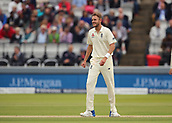 7th September 2017, Lords Cricket Ground, London, England; International Test Match Series, Third Test, Day 1; England versus West Indies; England Bowler Stuart Broad reacts during his over